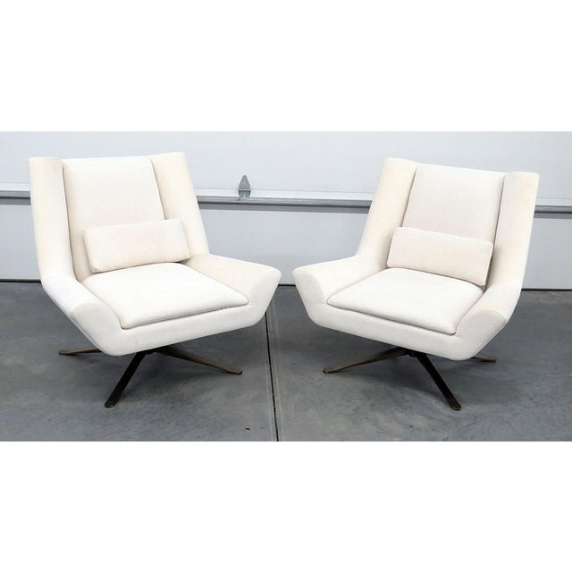 Pair of Restoration Hardware Luke Swivel Chairs For Sale - Image 10 of 10