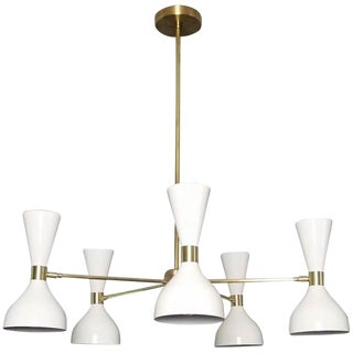 "Blueprint Lighting White Enamel & Brass""Ludo"" Round Chandelier For Sale"
