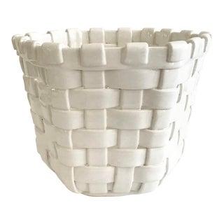 White Faux Woven Basket Ceramic Cachepot For Sale