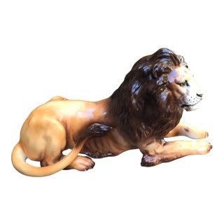 Vintage Ceramic Italian Lion Statue