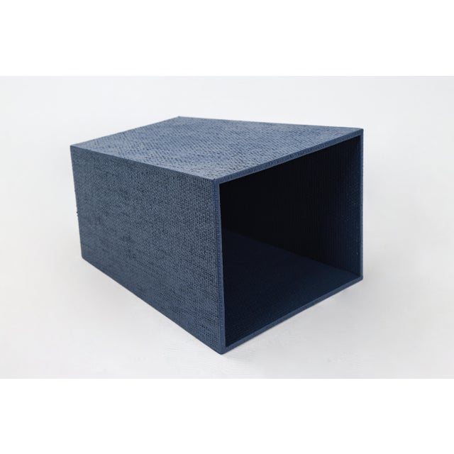 Late 20th Century Blue Linen Covered Waste Basket For Sale - Image 5 of 7