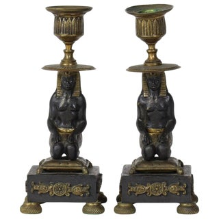 Pair of Early 19th Century Egyptian Revival Candlesticks For Sale