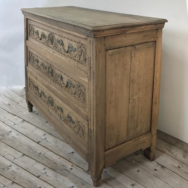 18th Century French Louis XVI Stripped Oak Commode For Sale - Image 4 of 13