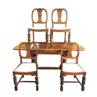 Antique English Tiger Oak Library / Refractory, Dining Table Set & Four Dinning Chairs Preview