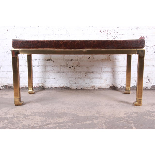 Mastercraft Hollywood Regency Chinoiserie Faux Tortoise Shell and Brass Writing Desk For Sale - Image 10 of 13