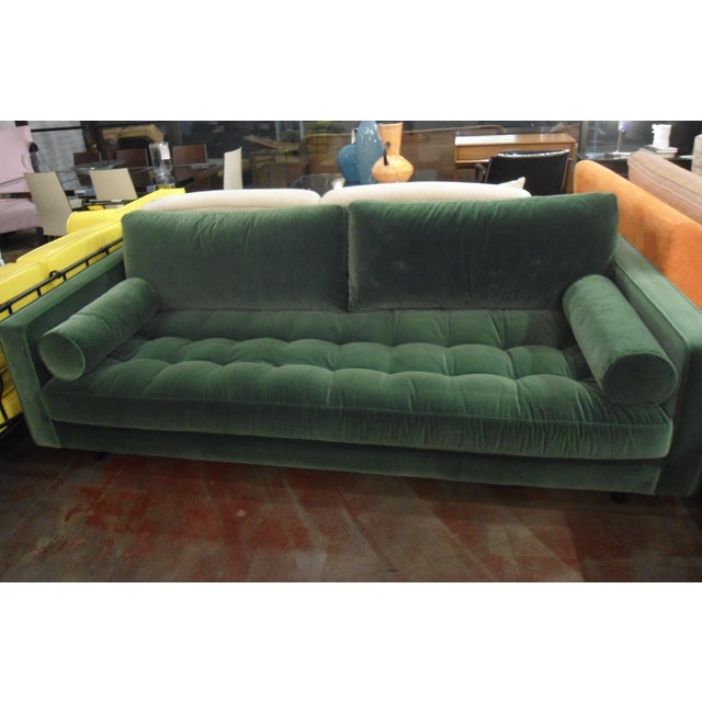 These Are Beautiful Green Velvet Tufted Sofas With A Mid Century Modern Flair They
