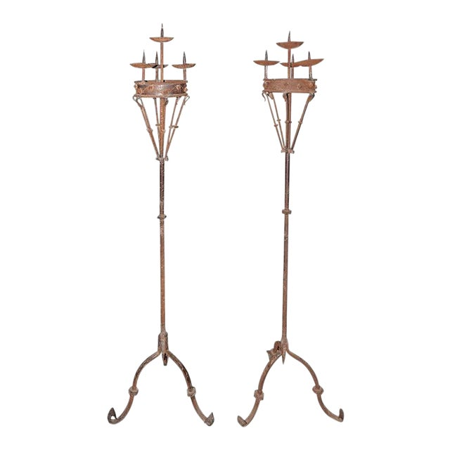 Early 19th Century Spanish Forged Iron Candleholders - a Pair For Sale