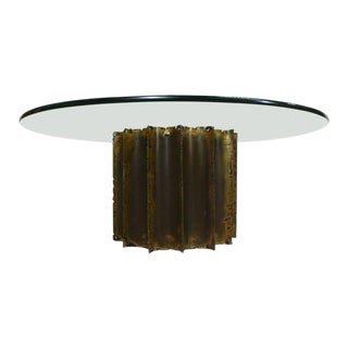 1970s Brutalist Silas Seandel Touch Cut Brass Cathedral Round Glass Coffee Table For Sale