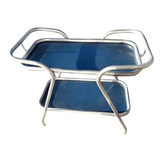 MCM Aluminum Frame Silver and Blue Bar Cart For Sale