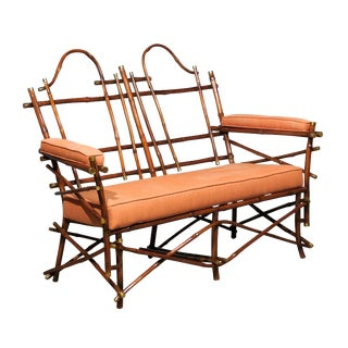 Lovely Vintage Bamboo and Brass Settee For Sale