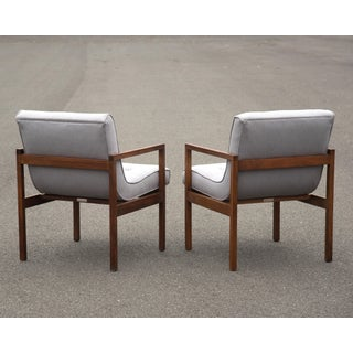 Mid-Century Walnut Swoop Seat Arm Chairs - a Pair Preview