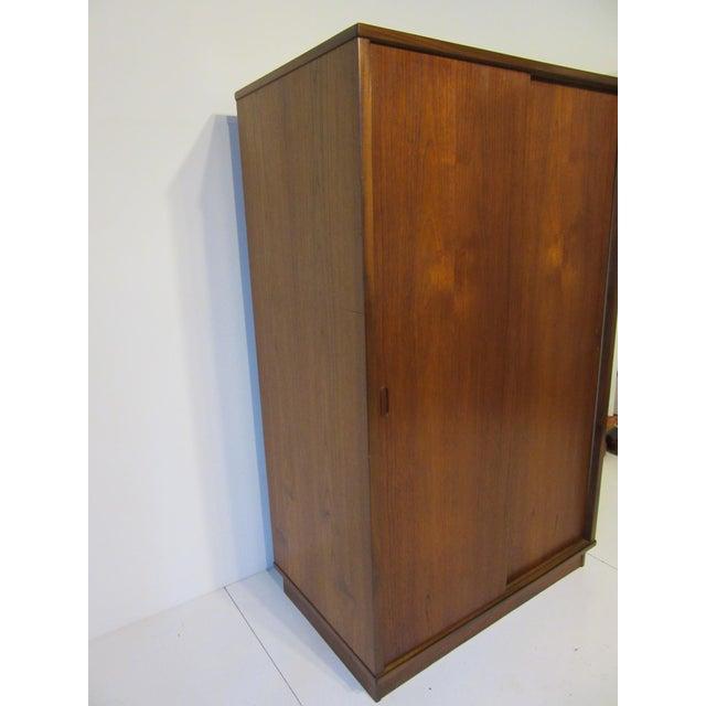 Mid-Century Danish Modern Teak Wardrobe / Armoire For Sale In Cincinnati - Image 6 of 11