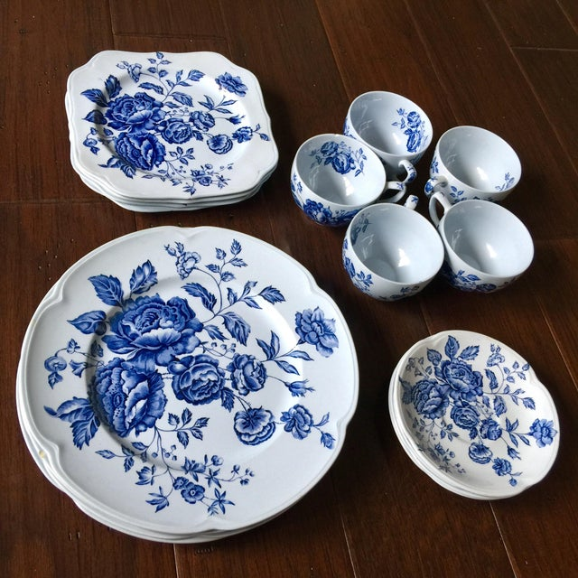 Blue Johnson Brothers English Blue & White Dinnerware For Sale - Image 8 of 8