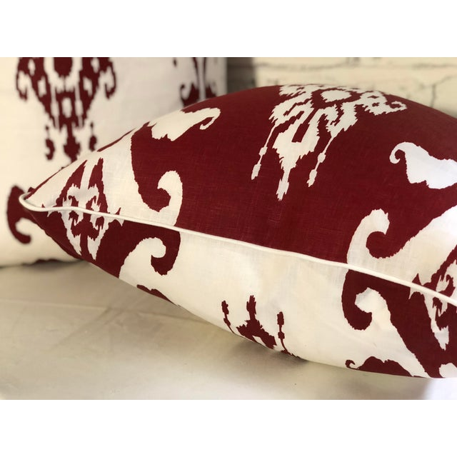 Textile Pair of Red and White Ikat Pillows by Jim Thompson For Sale - Image 7 of 10
