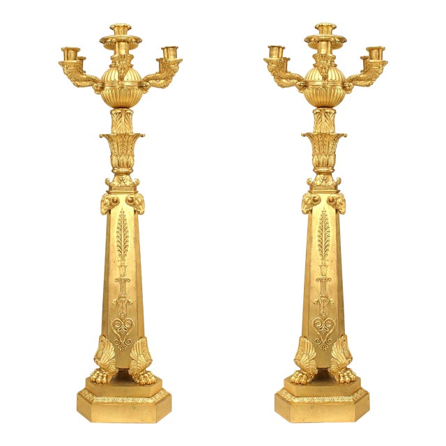 Important Pair of French Empire Bronze Dore Six-Arm Candelabra For Sale