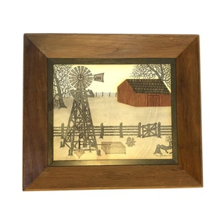 Vintage Farmhouse Scene Mixed Media Art - Framed and Signed For Sale
