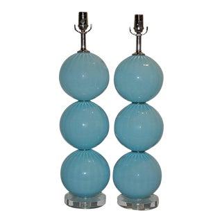 Joe Cariati Glass Lamps Blue For Sale