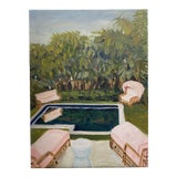 """Image of """"Poolside"""" Contemporary Outdoor Landscape Oil Painting by Alice Ford For Sale"""