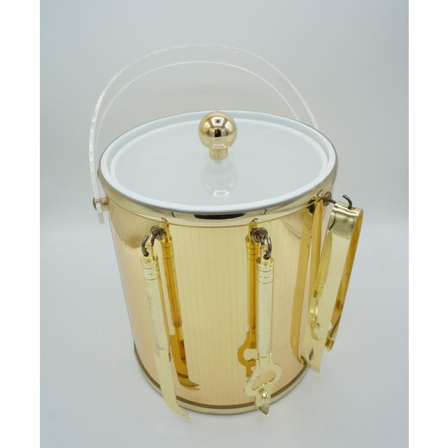 Golden Pinstriped Low Ball Cocktail Glasses (6) & Champagne Bucket With Bar Tools For Sale - Image 10 of 13