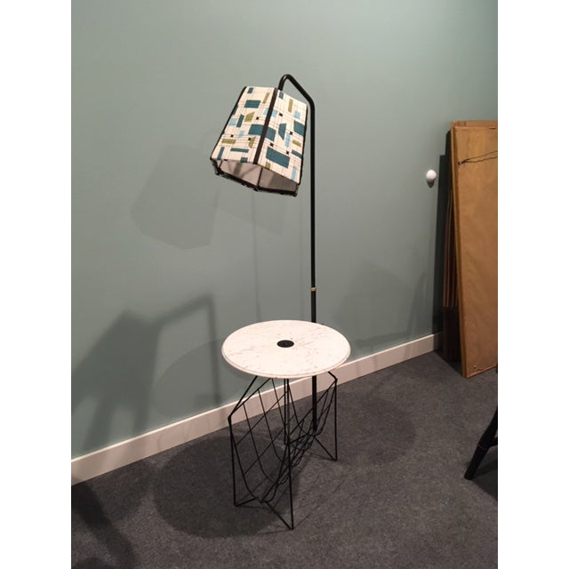 Black Mid-Century Modern Wire Floor Lamp With Table and Magazine Rack For Sale - Image 8 of 8