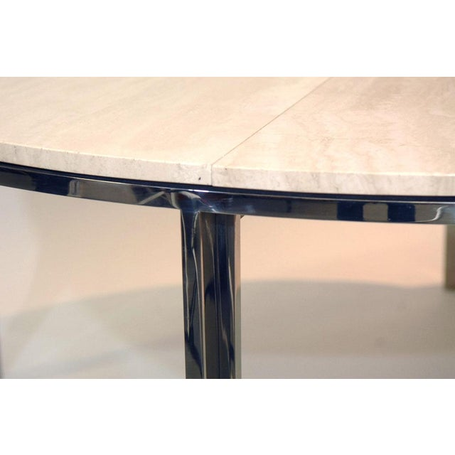 Pace Polished Stainless and Travertine Dining Table - Image 6 of 7