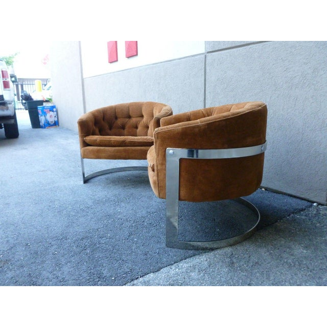 Mid-Century Modern 1970s Mid-Century Modern Milo Baughman Semi Circular Tub Lounge Chairs - a Pair For Sale - Image 3 of 8