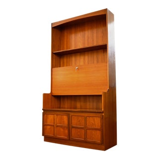 20th Century Danish Modern Nathan Furniture Teak Bookshelf With Drop Front Secretary Desk For Sale