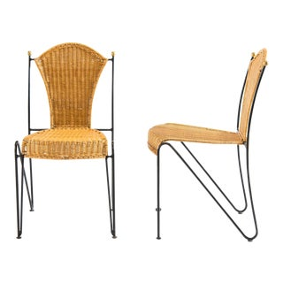 Armless Iron and Wicker Chairs - Set of 4