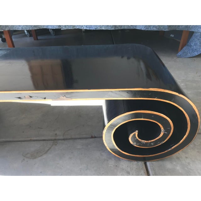 Metal Black and Gold Lacquer Scroll Coffee Table For Sale - Image 7 of 11