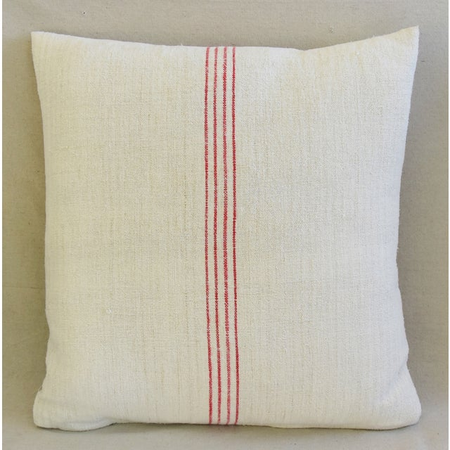 French Country Red Striped Gain Sack Pillows - Pair For Sale - Image 4 of 11