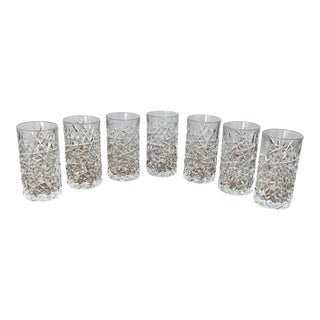 Mid-Century Rock-Cut Hi-Ball Glasses - Set of 7 For Sale