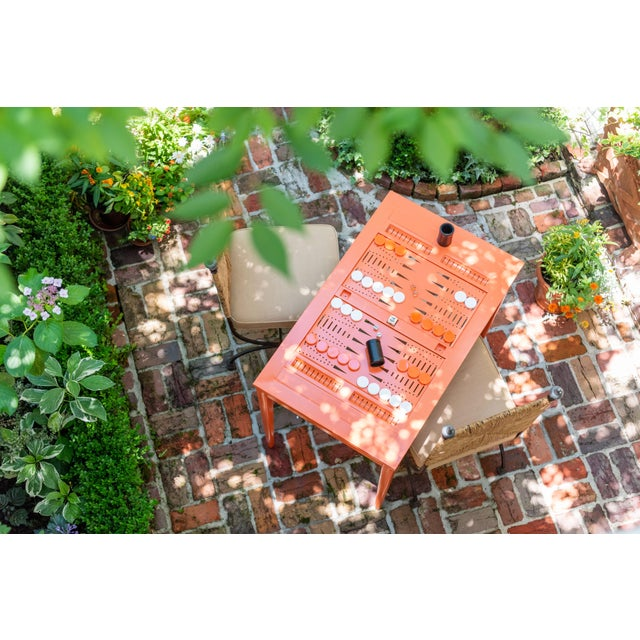Oomph Oomph Backgammon Outdoor Table, Orange For Sale - Image 4 of 7