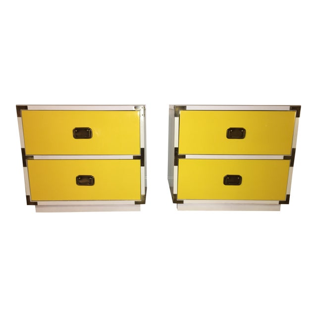 1970s Mid-Century Modern Campaign Nightstand-a Pair For Sale