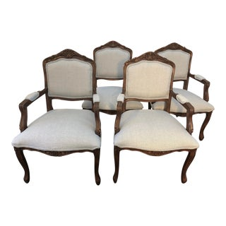 Louis XV Style Professionally Reupholstered Armchairs- Set of 4 For Sale