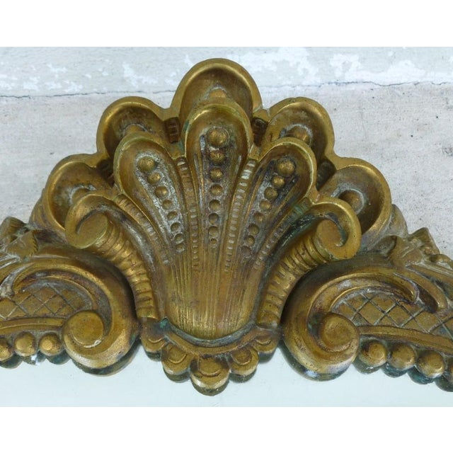 French Provincial Late 20th Century Vintage Shell Scrolled Top Bronze Mirror For Sale - Image 3 of 7