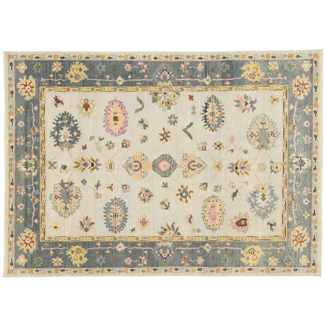 Contemporary Oushak Transitional Area Rug - 9′ × 12′7″ For Sale