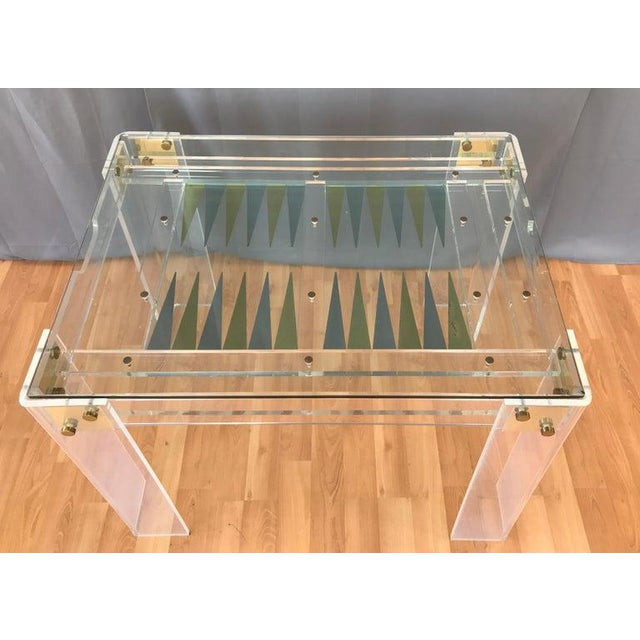 1970s Lucite and Brass Backgammon Game Table in the Manner of Charles Jones For Sale - Image 5 of 13