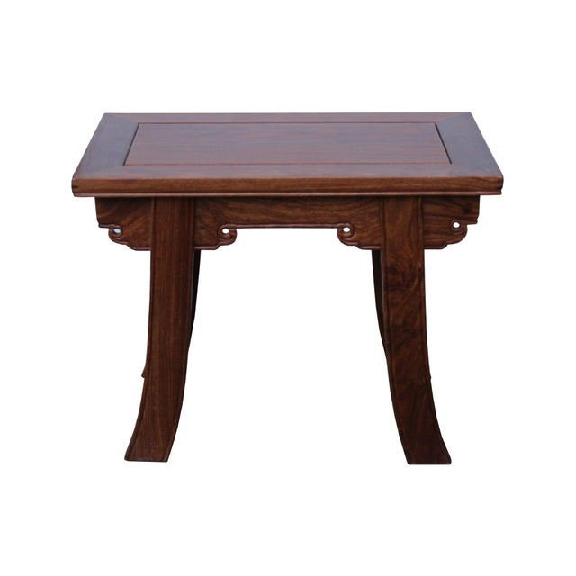 Solidly handmade high-quality Chinese Ming style wood stool, this rectangular stool is made of very good Huali Rosewood,...