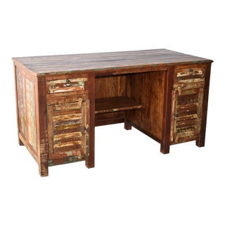 Reclaimed Teak Wood Desk For Sale