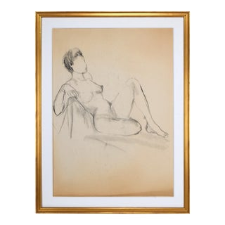 Vintage Mid Century Charcoal Figure Study of a Female Nude C.1950s For Sale