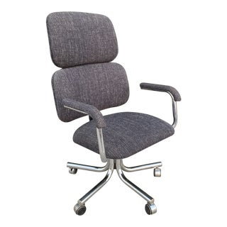 Mid Century Modern Reupholstered Office Chair For Sale