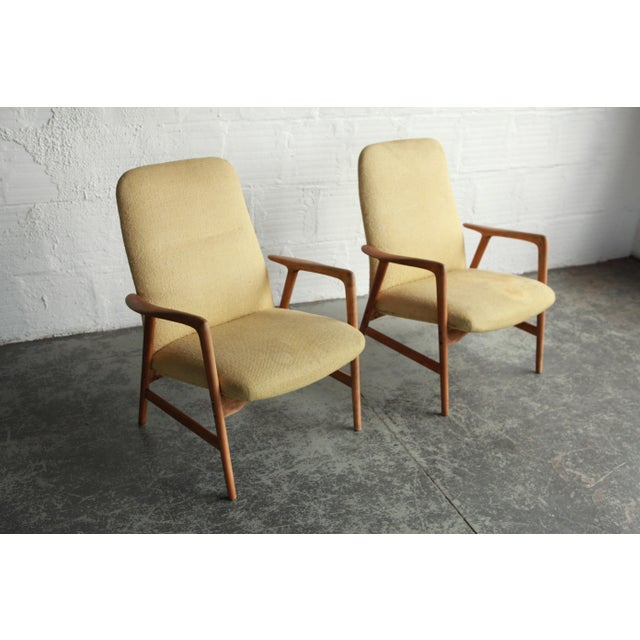 Vintage Mid Century Alf Svensson Highback Lounge Chairs- A Pair For Sale In Portland, OR - Image 6 of 8