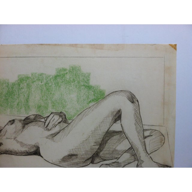 """1955 Vintage """"Sexy Woman - Laying Nude"""" Tom Sturges Jr. Original Drawing For Sale - Image 4 of 5"""