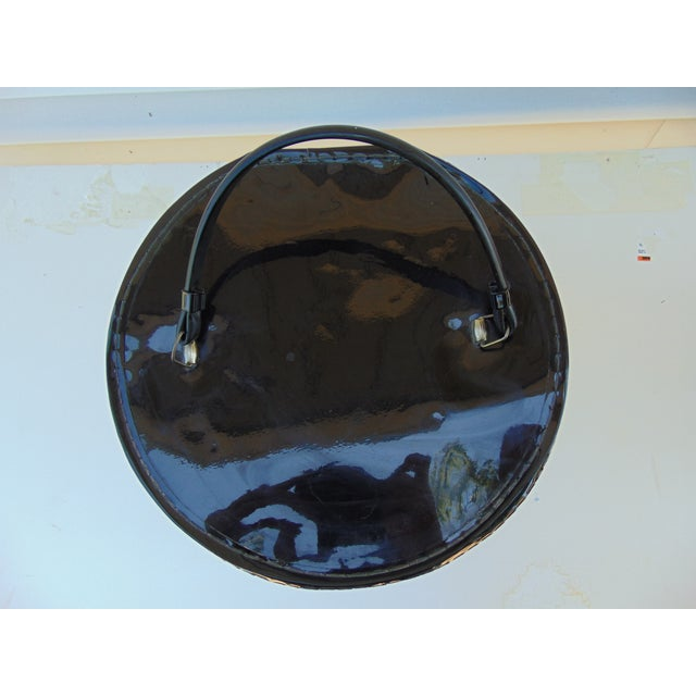 Hat Wig Box Vintage Round Suitcase Black Patent - Image 5 of 6
