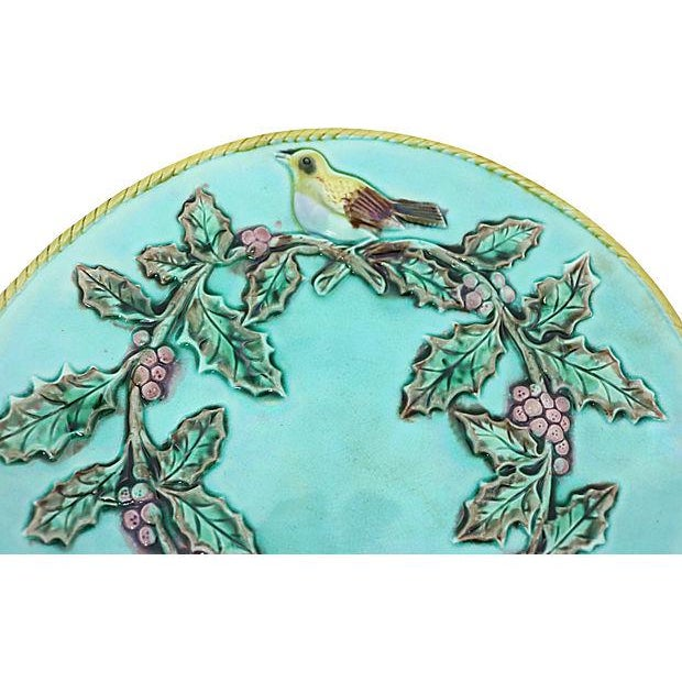 Country Antique Majolica Serving Plates w/ Birds For Sale - Image 3 of 4