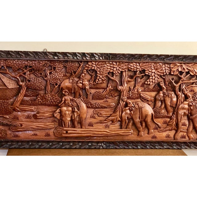 Mid 20th Century Large Vintage Wall Sculpture 3d Hand Carved Relief Teak Panel For Sale - Image 5 of 13