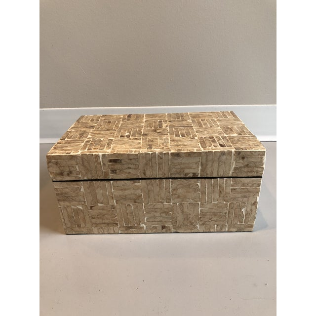 Traditional Tozai Home Golden Mother of Pearl Criss Cross Box For Sale - Image 3 of 7