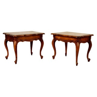 Pair Vintage French Walnut Upholstered Footstools Pair French Carved Ottomans Side Tables For Sale
