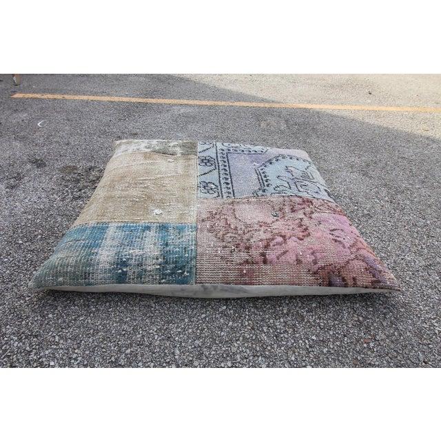 Vintage Turkish Patchwork Floor Pillow - Image 3 of 5