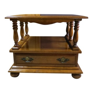Vintage Wood Baluster Square End Table For Sale